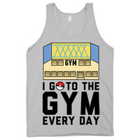 I go to the gym every day. fitness tank. pokemon gym parody. Womens, Mens, Nerd, Shirts, American Apparel Men's Tank top. Geek clothes.
