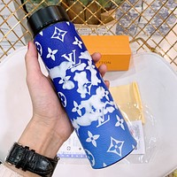 LV Cup Blue Sky White Cloud Style Water Cup 304 Stainless Steel Vacuum Smart Temperature Insulation Cup
