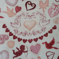 KEY to MY HEART Cupid's Arrow Doves Patterned Hearts Banner Print on Cream Cotton Valentine Fun Fabric for Creative Genius Projects