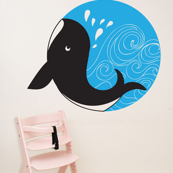 Vinyl Wall Decal Sticker Whale Circle #OS_DC729