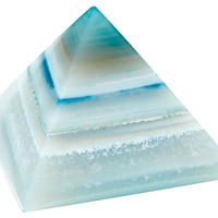 Agate Pyramid Paperweight, Teal