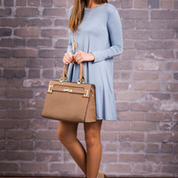 Create Your Happiness Piko Dress, Sky Blue