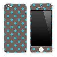 Turquoise and Gray Polka Skin for the iPhone 3gs, 4/4s or 5