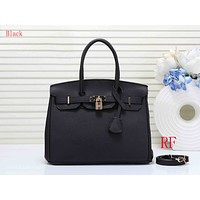 """Hermes"" new fashion  ladies  simple casual top layer leather lychee pattern shoulder bag  Black"