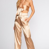 Pop The Bubbly Satin Pants - Champagne