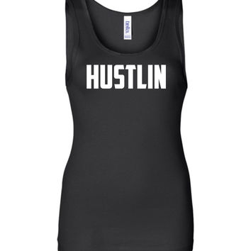 Hustlin - Women's Wide Strap Graphic Tank Top
