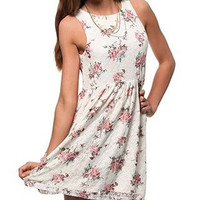 Casual Floral Print Sleeveless Mini Skater Dress