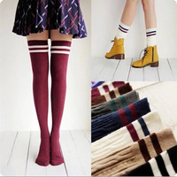 7 Colors Fashion Brand Designer Women Over The Knee Socks Thigh High Thick Lovely Girls Princess Knee High Long Socks Puscard