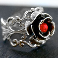 Steam Punk Ring - Silver Rose Ring with Red Crystal - Adjustable