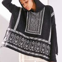 Ecote Patterned Side-Tie Poncho Hoodie Sweater - Urban Outfitters
