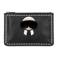 Indie Designs Fendi Inspired Black Karl Lagerfeld Studded Leather Pouch