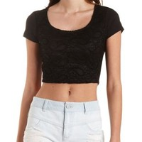 Lace-Front Crop Top by Charlotte Russe