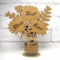 BEST MOM EVER Gift Mothers Day Birthday Idea Mini Mason Jar Flowers Sculptural Greetings