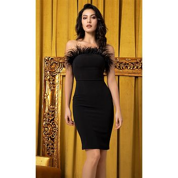 Love Of My Life Black Strapless Feather Trim Bodycon Mini Dress