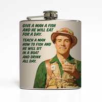 Alcohol Flask Liquid Courage Fishing Drinking Boat Fisherman Groomsmen Men Dad Birthday Gift Stainless Steel 6 oz Liquor Hip Flask LC-1446