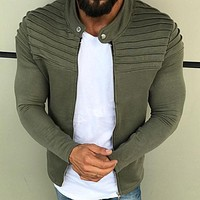Newest Casual Sports Hooded Men Sweatshirt Solid Color Hoodies Male Long Sleeve Coat Hoodie Zipper Sportswear