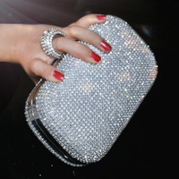 Diamond-studded Evening Bag Rhinestone Clutch Available in 3 Colors