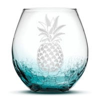 Crackle Teal Wine Glass, Pineapple Design, Hand Etched, 18oz