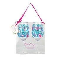 Acrylic Wine Glasses in Red Right Turn by Lilly Pulitzer