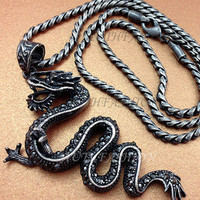 Mens Retro Burnished Dragon Pendant Necklace Chain Black Zirconia Rider Punk 55