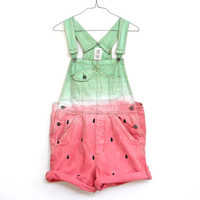 WATERMELON OVERALLS, hand painted jeans