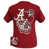 Sale Alabama Crimson Tide Chevron Anchor Bow Bright T Shirt