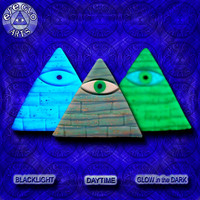 EyeGloArts American Made Gold Leaf & Glow in the Dark Pendant Illuminati All Seeing Eye Pyramid in blue and aqua Party Favors