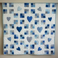 Baby Boy Quilt, Blue Crib Quilt, Childrens Patchwork Quilt  with Appliqued Hearts, New Baby Blanket,  Baby Nursery Bedding, Babyshower Gift