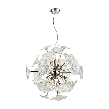 Vershire 12-Light Chandelier in Polished Nickel with Clear Glass