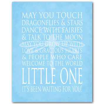 Dragonflies and stars...Welcome to the world little one - ...Nursery Rhyme Nursery Wall Art Print Children's Room Decor Baby Gift Typography