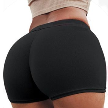 Sexy Yoga Shorts Solid Breathable Elastic High Waist Fitness Shorts Women Underwear Femme Boxer Briefs 11 Colors S M L