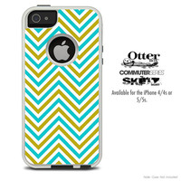 The Sharp Gold & Blue Chevron Pattern Skin For The iPhone 4-4s or 5-5s Otterbox Commuter Case