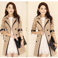 Double Breasted Women Trench Coat Autumn OL Style = 1930107204