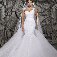 The Miranda Luxury Backless Lace Sheer Tulle Mermaid Wedding Gown