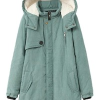 Pink Queen Women's Winter Cotton Quilted Coat Plus Size Outerwear Coat Green(XL)
