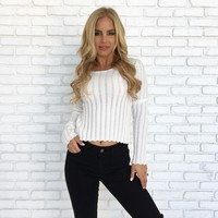 Push It Knit Sweater Top in Ivory