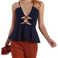 Navy Cut-out Peplum Top by Charlotte Russe