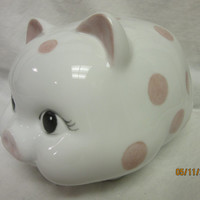 Bank Piggy, Girl Gift, Pink Polk a Dots bow under tail, Porcelain Ceramics Pottery, Hand Painted and Kiln Fired by B. Marsh