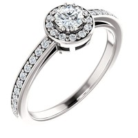 0.25 Ct Round Diamond Engagement Ring 14k White Gold