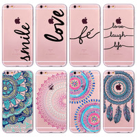 Cover For Apple iPhone 6 6s Floral Paisley Flower Mandala Henna Coque Clear transparent Portuguese Words Love Amor Case Fundas