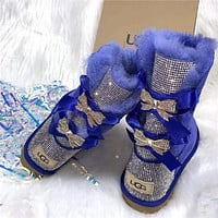UGG new women's diamond bow mid-cut snow boots Shoes