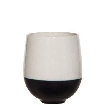 Threshold™ Color Block Cup Vase - White/Black 5""