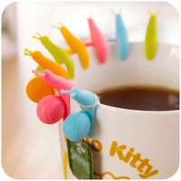 Snail Hanging Cup Label for Tea bag Wineglass Silicone Clip-Color Random = 1946142660
