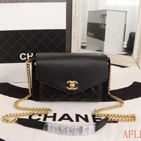 752 Fashion Three Compartment Chain Shoulder Crossbody Pouch Flap Bag Casual Baguette Bag 23-14-7cm