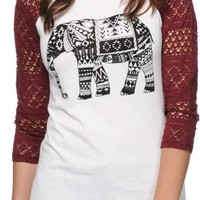 Empyre Sheffield Tribal Elephant Eyelet Baseball Tee