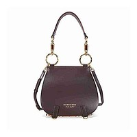 Burberry Women's Bridle Bag In Leather and Haymarket Check Brown