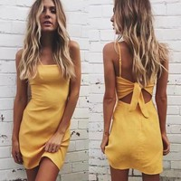 Butterfly Spaghetti Strap Dress Summer Stylish One Piece Dress [9893987277]