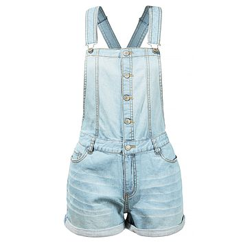 Distressed Button Down Denim Overall Shorts with Adjustable Straps (CLEARANCE)