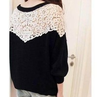 black long sweater with white lace shoulder