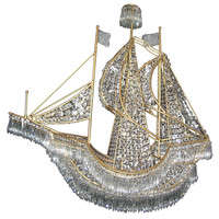 Large Italian Gilt Bronze and Crystal Boat Chandelier